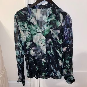 Theory Silk Sheer Blouse - Size P
